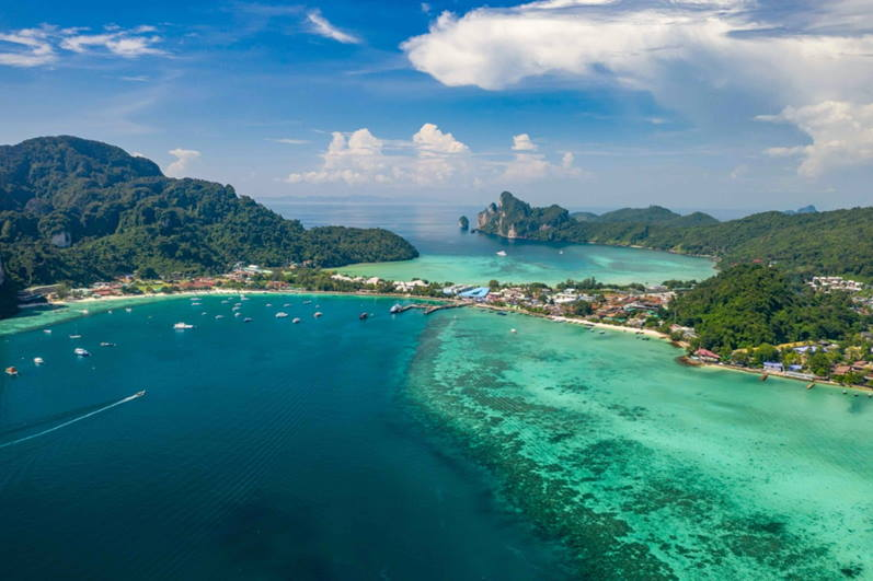 Iconic Thai island destination Koh Phi Phi is a popular day trip for Phuket tourists but with borders closed, hotels and tourism businesses remain empty. Image courtesy of Vertigo Video Productions Phuket